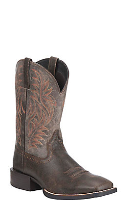Ariat Men's Sport Brooklyn Brown and Ash Wide Square Toe Western Boots