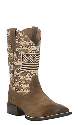 Ariat Men's Sport Patriot Mocha with Sand Camo Upper and American Flag Patch Western Square Toe Boots