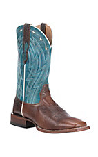Ariat Men's Cowtown Chocolate Bullfrog Print with Caribbean Blue Upper Western Wide Square Toe Boots