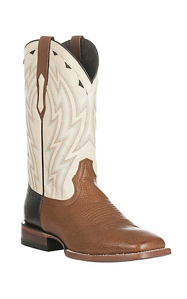 Ariat Men's Cowtown Sand with White Upper Western Square Toe Boots ...