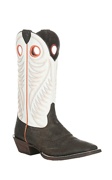Ariat Men's Circuit Stomper Chocolate with White Upper Western ...