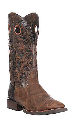 Ariat Men's Barstow Brown with Dark Brown with Tan Inlay Upper Western Wide Square Toe Boots