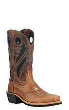 Ariat Men's Heritage Roughstock Venttek Tan with Chocolate Upper Western Square Toe Boots