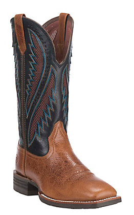 Ariat Quickdraw VentTEK Men's Gingersnap and Navy Wide Square Toe Western Boots