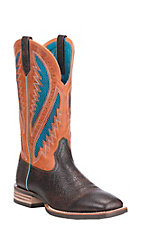 Ariat Men's Quickdraw Venttek Glazed Brown with Orange w/ Blue Mesh Inlay Upper Western Wide Square Toe