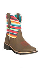 Ariat Women's Brown with Serape Print Stripped Upper Fatbaby Wide Square Toe Boots