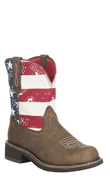 Ariat Women's Brown with American Flag Upper Fatbaby Boots ...
