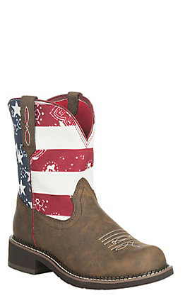 Ariat Women's Brown with American Flag Upper Fatbaby Boots
