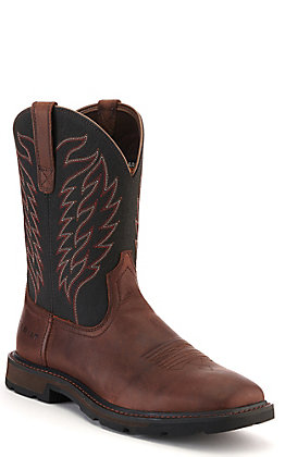 Ariat Men's Brown and Black Waterproof Wide Square Toe Work Boot