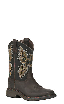 Ariat Kids WorkHog Brown and Black Wide Square Toe Western Boots