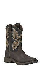 Ariat Youth WorkHog Brown with Black Top Wide Square Toe Western Boots