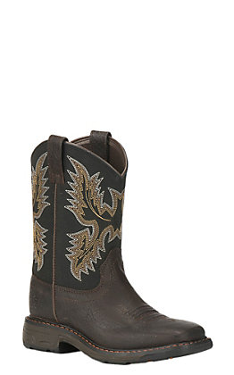 Ariat Youth WorkHog Brown and Black Wide Square Toe Western Boots