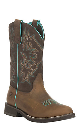 Ariat Women's Delilah Distressed Brown with Fudge Round Toe Western Boots