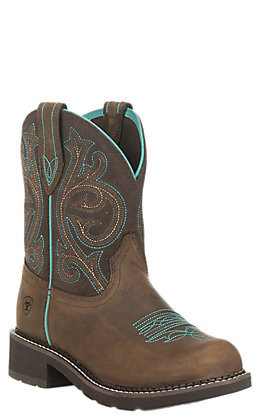 Ariat Women's Fatbaby Heritage Brown with Fudge Round Toe Boots