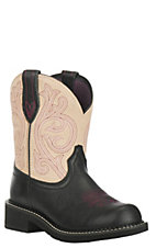 Ariat Women's Fatbaby Heritage Black with Cream Round Toe Boots