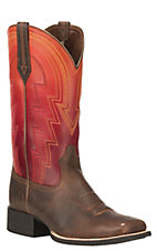 Ariat Women's Round Up Waylon Tan with Ombre Sunrise Upper Square Toe Western Boots