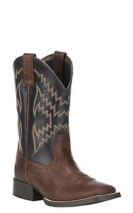 Ariat Kids Tycoon Brown with Arizona Sky Wide Square Toe Western Boots