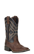 Ariat Youth Tycoon Brown with Arizona Sky Wide Square Toe Western Boots