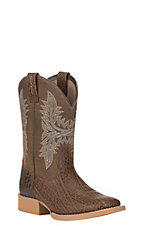 Ariat Youth Cowhand Tan with Sand Upper Wide Square Toe Western Boots
