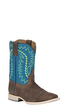 b7aadb7a431 Ariat Kids Relentless Elite Blue with Chocolate Upper Wide Square Toe Western  Boots