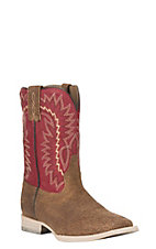 Ariat Kids Relentless Elite Red with Chocolate Upper Wide Square Toe Western Boots