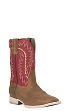 Ariat Youth Relentless Elite Red with Chocolate Upper Wide Square Toe Western Boots