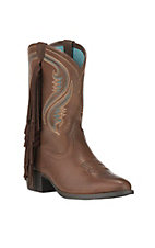 Ariat Youth Fancy Western Sassy Chocolate with Fringe R-Toe Western Boots