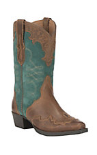 Ariat Youth Zealous Distressed Brown with Teal Suede Upper Snip Toe Western Boots