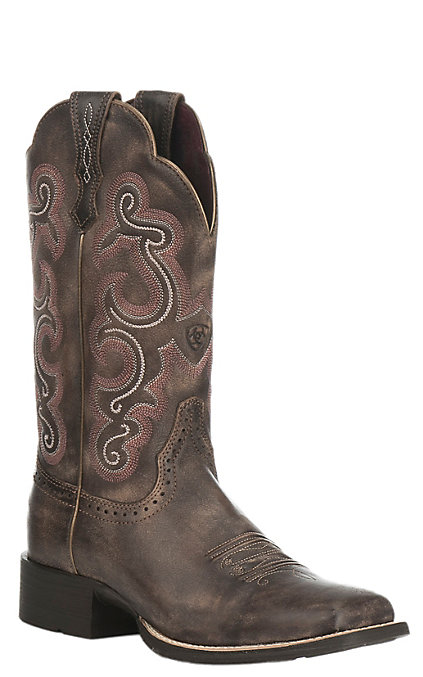 3bdfd8687bb Ariat Women's Quickdraw Chocolate Square Toe Western Boots