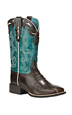 Ariat Women's Sidekick Chocolate with Turquoise Upper Square Toe Western Boots