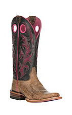 Ariat Women's Chute Out Tan Crocodile Print with Crackled Pink Square Toe Western Boots