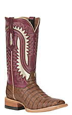 Ariat Women's Silverado Caiman Belly with Blush Upper Exotic Square Toe Boots
