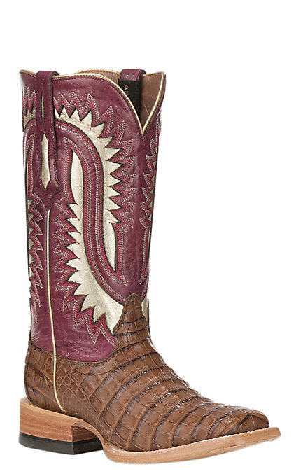 10640662563 Ariat Silverado Women's Caiman Belly with Blush Upper Exotic Square Toe  Boots