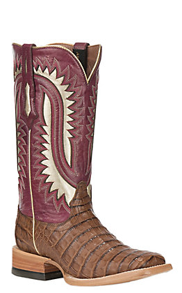 Ariat Silverado Women's Caiman Belly with Blush Upper Exotic Square Toe Boots