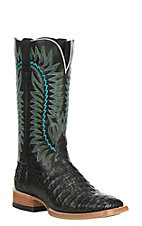 Ariat Men's Gold Buckle Caiman Belly with Black Exotic Western Square Toe Boots