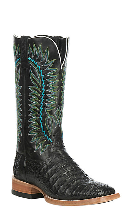 2d0cdc7a056 Ariat Men's Gold Buckle Caiman Belly with Black Exotic Western Square Toe  Boots