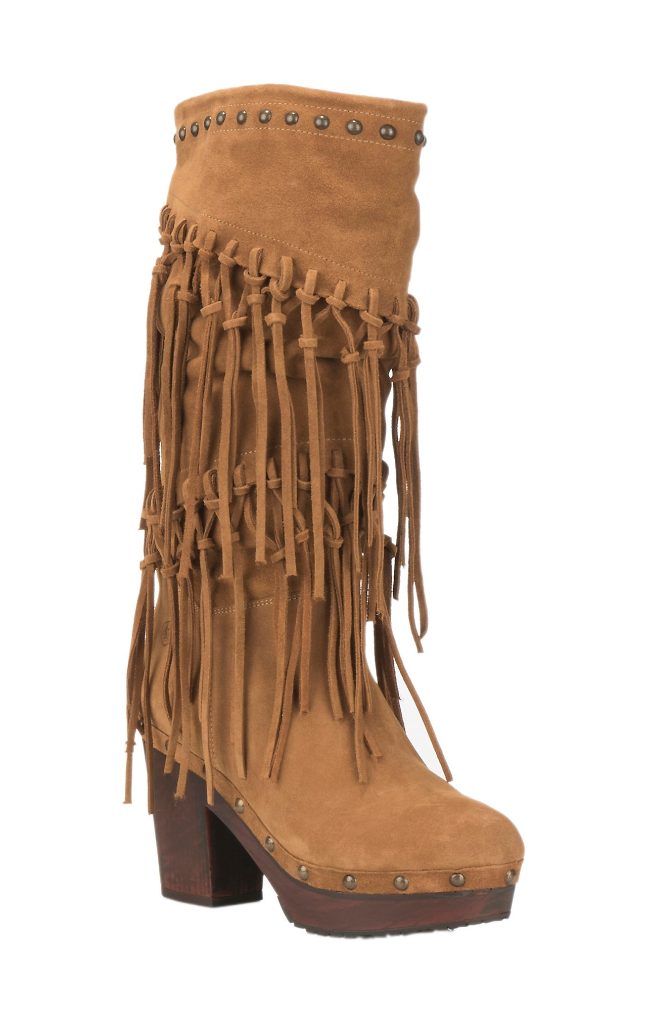 Ariat Womens District Music Row Wheat Fields Suede with Fringe Round Toe  Fashion Boots
