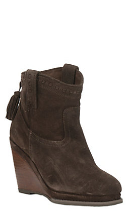 Ariat District Broadway Women's Dark Brown Suede Round Toe Fashion Booties