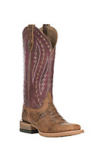 Ariat Women's Callahan Tan with Mulberry Square Toe Western Boots