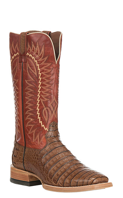 e1b88d18666 Ariat Relentless Gold Buckle Men's Caimen Gator Caramel and Red Exotic Wide  Square Toe Western Boots
