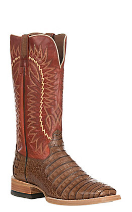 Ariat Men's Gold Buckle Caiman Belly with Red Exotic Western Square Toe Boots