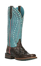 Ariat Women's Callahan Chocolate Anaconda Print with Washed Teal Square Toe Western Boots