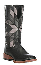 Ariat Men's World Champion Black Smooth Ostrich with Black Exotic Western Square Toe Boots