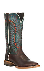 Ariat Men's Relentless Elite Brown with Sapphire Blue Upper Western Square Toe Boots