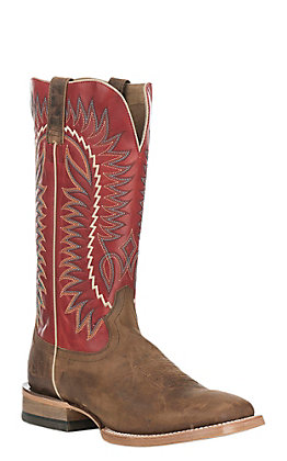Ariat Men's Relentless Elite Tan with True Red Upper Western Square Toe Boots