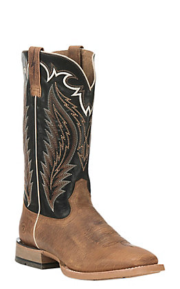 Ariat Top Hand Men's Cattleguard Brown and Bayou Black Wide Square Toe Western Boots