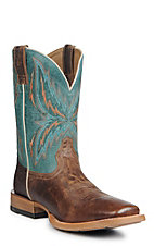 Ariat Men's Arena Rebound Wheat with Heritage Blue Upper Western Square Toe Boots