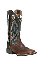 Ariat Men's Heritage High Plains Caramel with Blue Upper Western Square Toe Boots