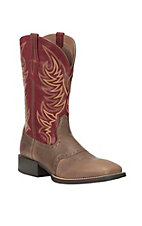 Ariat Men's Sport Sidewinder Baked Brown with Cherry Red Upper Western Wide Square Toe Boots