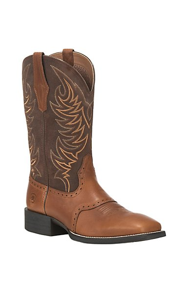 Men's Ariat Sport Sidewinder Cowboy Boot, Size: 9 D, Golden Grizzly/Alamo Brown Full Grain Leather